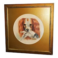 Victorian Mid-19th Century Watercolor Portrait of a King Charles Spaniel Dog