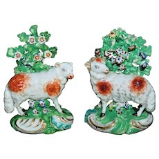 Pair of Late 18th Century Derby Sheep with Encrusted Flowers