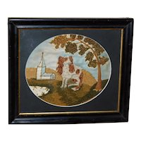 Early 19th Century Wool on Silk Picture of a Spaniel Dog in a Landscape