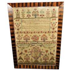 Large William IV Silkwork Sampler Dated 1825