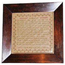 "George IV Silkwork Sampler ""On Happinefs,"" Dated 1820"