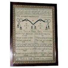 Rare Georgian Silkwork Sampler, Dated 1805