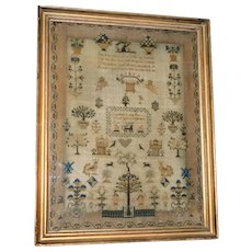 George IV Silkwork Adam and Eve Sampler, Dated 1825