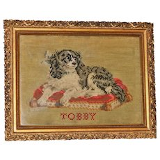 "Mid-19th Century Woolwork Portrait of ""Tobby,"" a King Charles Spaniel Dog"