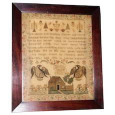 Regency Silkwork Sampler with House and Eagles, Dated 1833