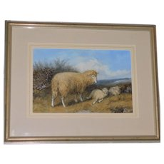 Victorian 19th Century Watercolor of Sheep in a Landscape