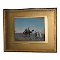Late 19th Century Watercolor of Figures and Camels in Desert by Paul H. Ellis