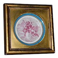 19th Century Sevres Style Porcelain Cabinet Plate with Cherubs