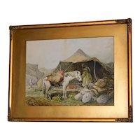 Late 19th Century Watercolor of an Arabian Desert Encampment by Paul H. Ellis