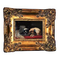 19th Century Victorian Painting of Two King Charles Spaniel Dogs, after Landseer