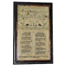 18th Century Silk Needlework Sampler of the Ten Commandments Dated 1744