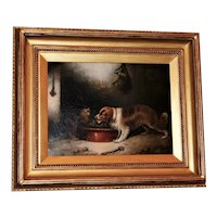 A Spaniel and Two Terriers in a Larder by Edward Armfield