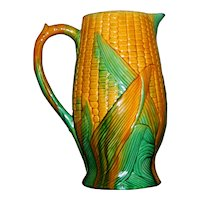 Large 19th Century Majolica Corn Jug