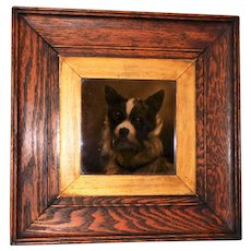 Antique Framed Tile Depicting a Monochrome Terrier