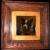 Antique Framed Tile Depicting a Monochrome Terrier