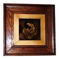 Antique Framed Tile Depicting a Monochrome Dog
