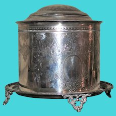 Antique Elkington Silver Plated Tea Caddy