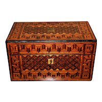 19th Century Early Victorian Walnut Parquetry Tea Caddy