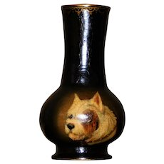 Victorian Papier Mache Vase with Hand-Painted Terrier Dog