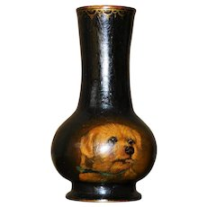 Victorian Papier Mache Vase with Hand-Painted Dog