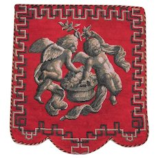 Rare Early Victorian Beadwork Banner with Two Cherubs and a Flower Basket