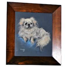 "Pastel Portrait of ""Rosie,"" a Pekingese Dog, by Marjorie Cox"