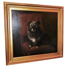 Victorian 19th Century Portrait of a Seated Terrier by Lucy Waller