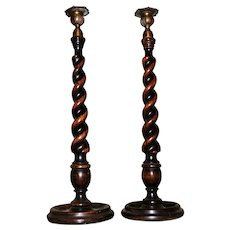 Pair of Impressive 18-1/2-Inch High Oak Spiral Twist Candlesticks Circa 1900