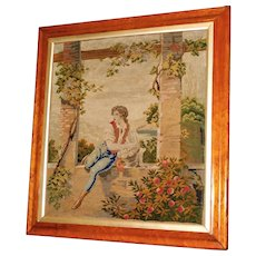 19th Century Victorian Embroidery in Original Frame