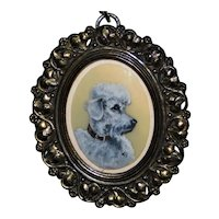 Vintage Miniature Oil Painting of a Poodle in Original Frame
