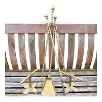 Victorian 19th Century Brass Fireplace Set