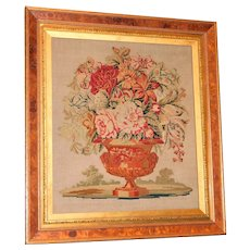 Mid-19th Century Victorian Woolwork of Flower-Filled Urn