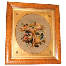 Early 19th Century Silk Chenille Raised Work of Colorful Birds