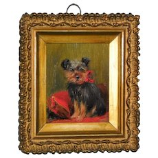 Miniature Portrait of a Yorkshire Terrier Dog by Bessie Bamber