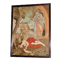 Late 18th Century Silkwork and Woolwork Embroidery of a Biblical Story