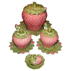 Set of Vintage Bardallo Pinheiro Strawberry Tureens