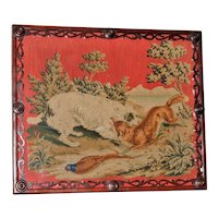 Mid-19th Century Woolwork of a Dog and Fox in Carved Frame