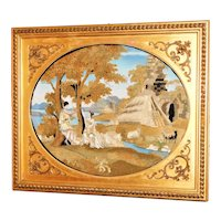 Early 19th Century Romantic Silkwork Picture of a Classical Scene