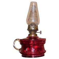 Antique Miniature Cranberry Glass Oil Lamp