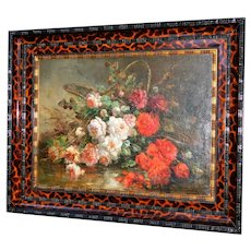 Still Life of Roses in a Basket, by Henri Robbe