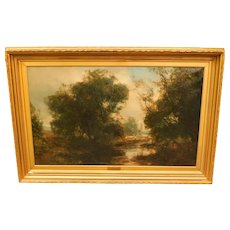 """Large Landscape, """"Willows on the Tyne,"""" by J. Hamilton Glass"""