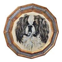 19th Century Pastel Portrait of a Cavalier King Charles Spaniel Dog
