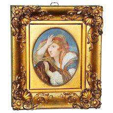 19th Century Miniature Watercolor Portrait in the Pre-Raphaelite Style