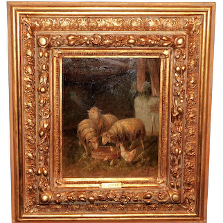 Sheep and Chickens in a Barn by Johanna Grell