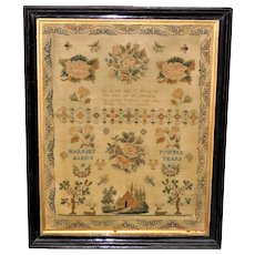 Early Victorian Silkwork Sampler in Fine Pettipoint