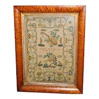 Early Victorian Silkwork Sampler Dated 1845