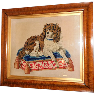 "Mid-19th Century Needlework Portrait of ""Dash,"" the Queen's Favorite Dog"