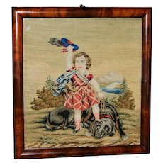 Mid-19th Century Needlework Portrait of Bonnie Prince Charlie and His Dog