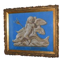 19th Century Victorian Beadwork Picture of a Putti Straddling a Dolphin