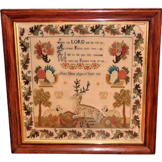 Large Victorian Woolwork Sampler Dated 1860